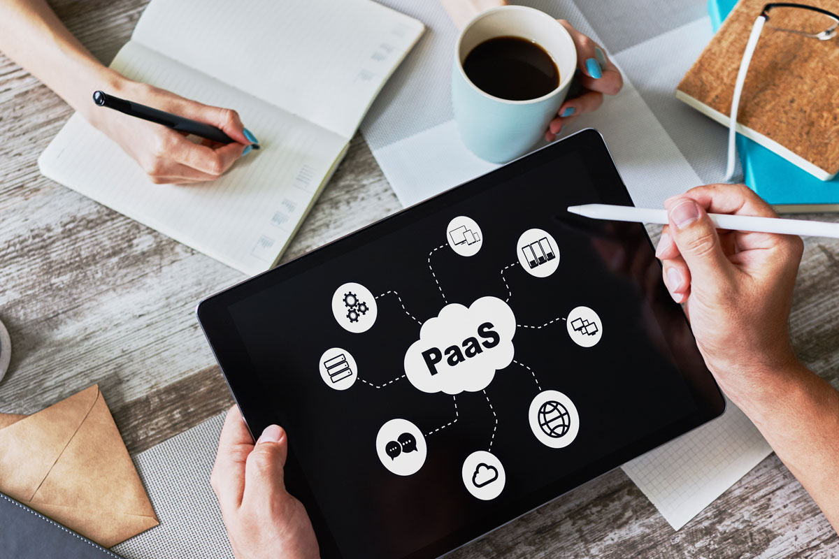 PaaS Image | PaaS Cloud Graphic and Icons on Tablet