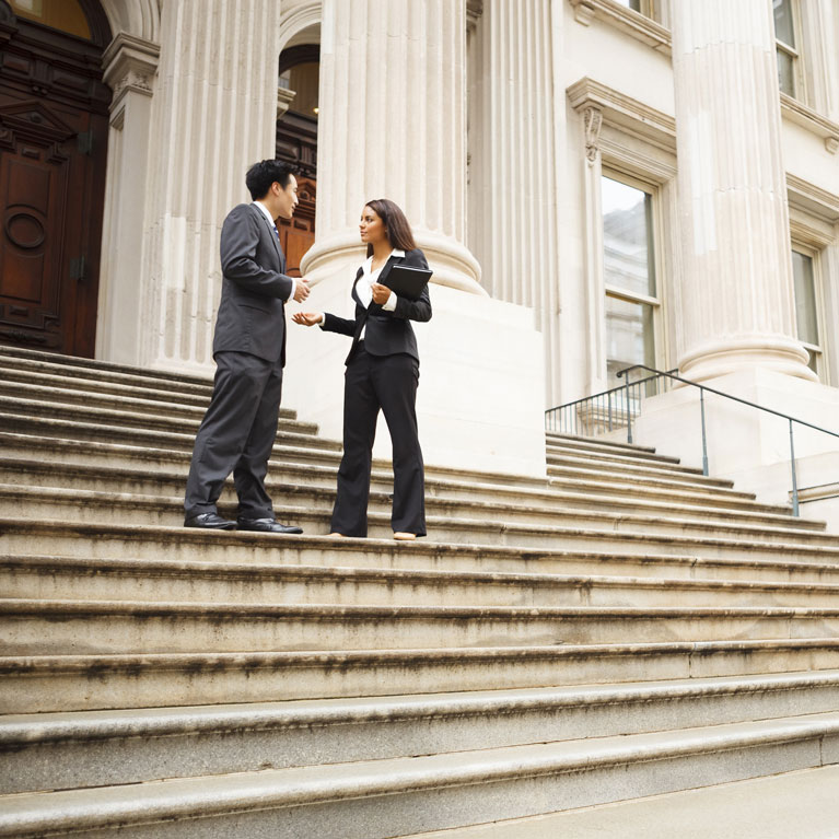 Public Sector Image | Meeting Outside Courthouse Steps