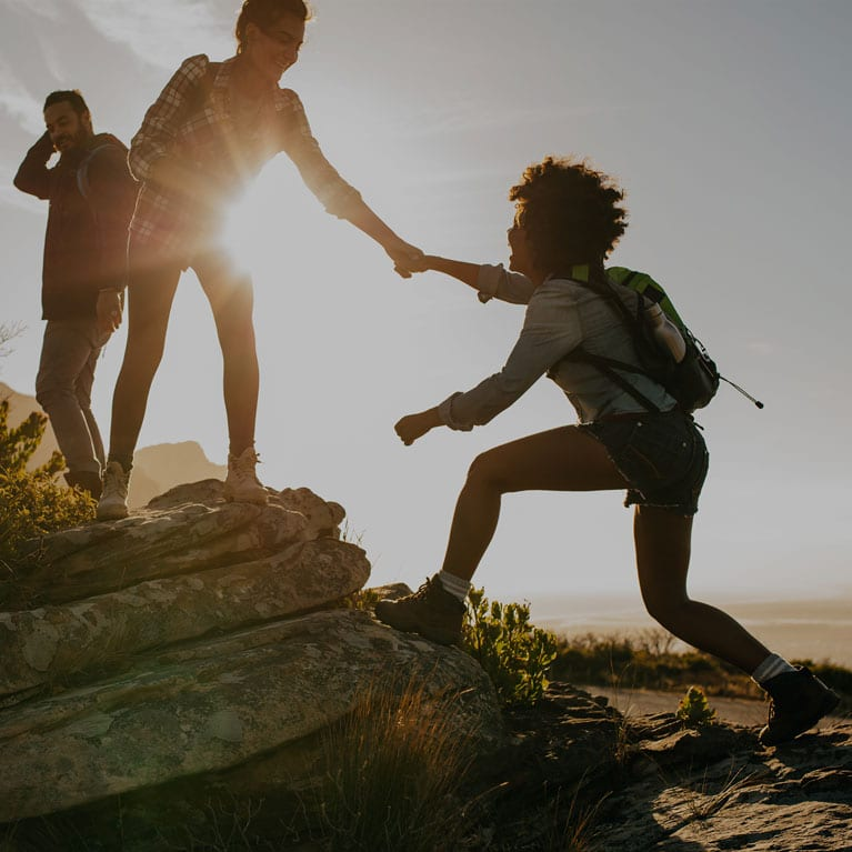 Friends Hiking at Sunrise   Outdoor Adventure Image
