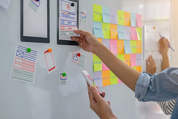 Implementations Image | Strategic Planning with Sticky Notes Whiteboard