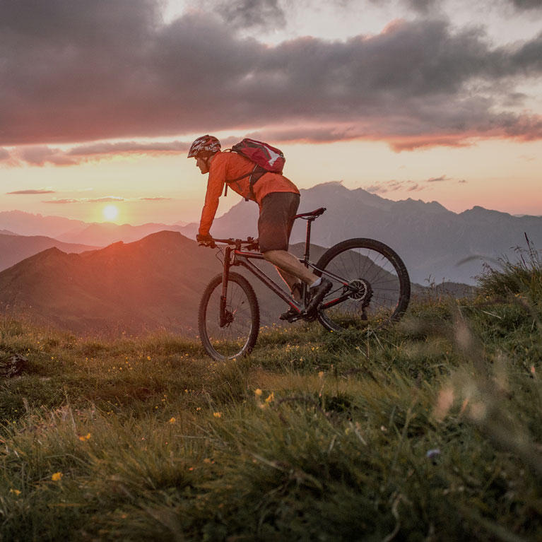 Mountain Biking at Sunset in the Mountains | Outdoor Adventure Image